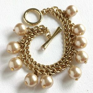 Avon Double Chain Pearl Charm Bracelet